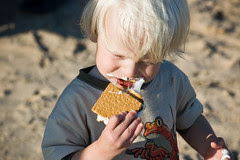 S'mores on the beach. Gooey goodness.
