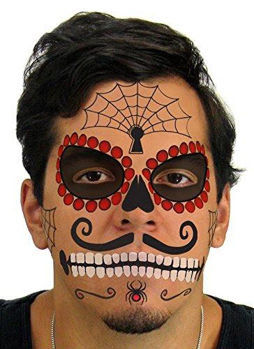 Ruby Sugar Skull Day Of The Dead Temporary Face Tattoo Kit For Men