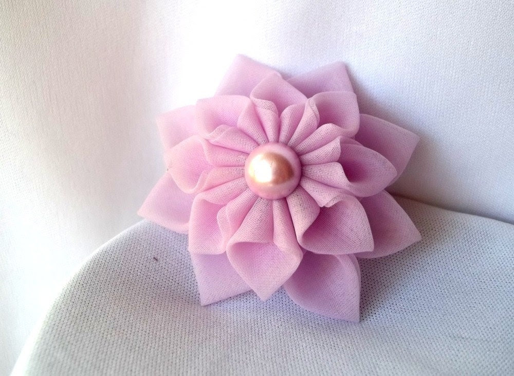Kanzashi Fabric Hair Flower Lilac Dahlia