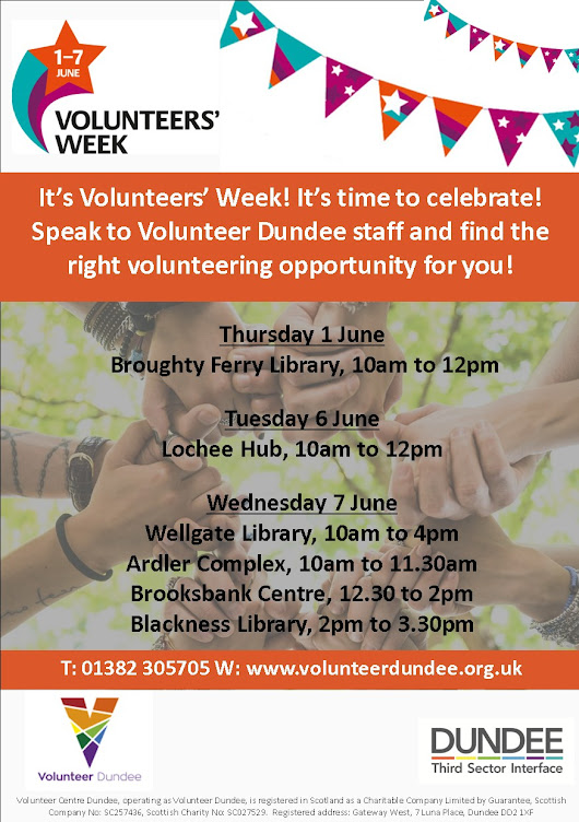 Volunteers' Week – event at Blackness Library today!   #dundeewestend