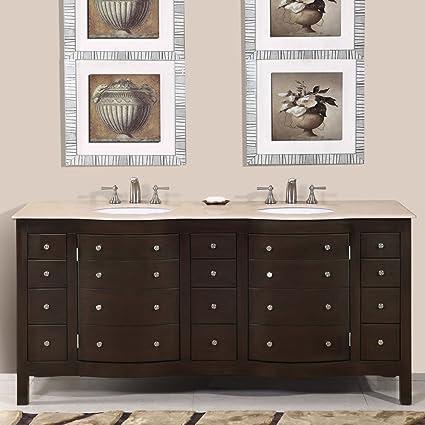 Silkroad Exclusive Cream Marfil Marble Stone Double Sink Bathroom