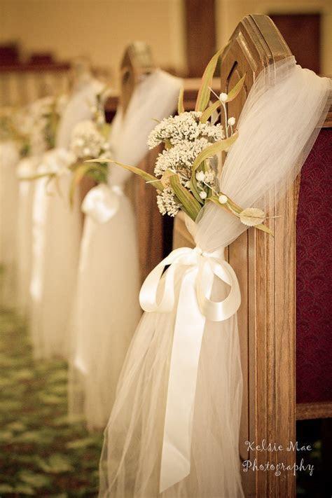 pew bows & babys breath & silk ribbon   Morgan   Pinterest