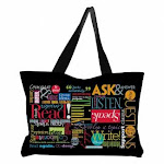 Teacher Peach Words to Grow By Every Learner's Zippered Tote Bag