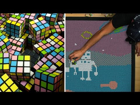 A Stop-Motion Animated Robotic Love Story Created With 1,296 Mini Rubik's Cubes
