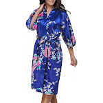 Floral Bride and Bridesmaid Robes, Blue-White, 2T-38 Womens Plus, Satin, MidLength, Jewel Blue / Womens XXL (US 13-14) from Gifts Are Blue