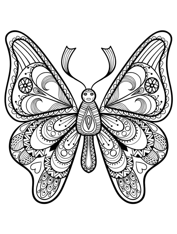 Ein Schmetterling mit Gesicht und gemusterten Flügeln Malvorlage als Bild zum Ausdrucken bei Nerdy Mamma Sprache englisch