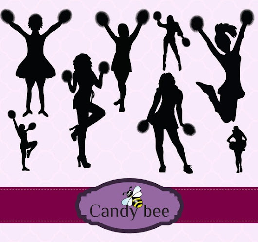 Pretty Cheerleader Silhouettes Clip Art by CandyBeeDesigns on Etsy