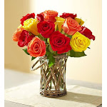 1-800-Flowers Autumn Rose Bouquet with Wicker Vase