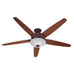 "Hunter Stockbridge 70"" Indoor Ceiling Fan - 5 Reversible Blades and Light Kit In New Bronze Fans Ceiling Fans Indoor Ceiling Fans"