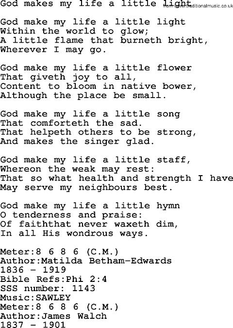 As The Life Of A Flower Hymn Lyrics
