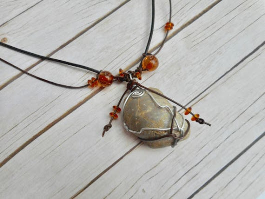 Gray shell fossil pendant brown leather necklace wire leather