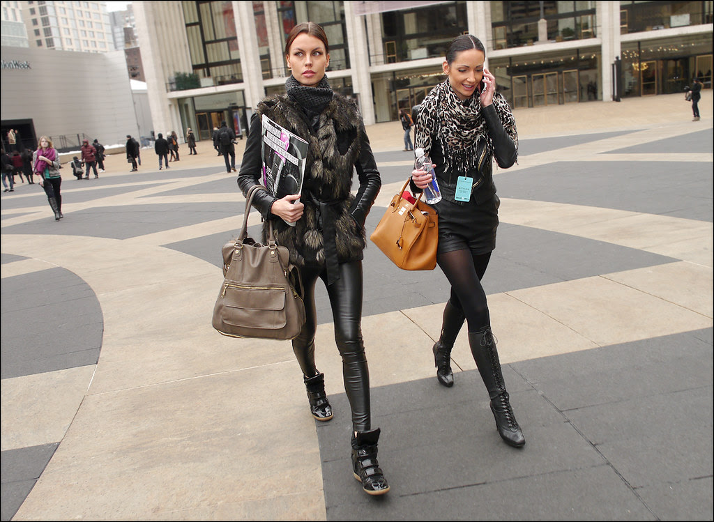 FW 2014-2 -15 w 2 fur vest black leather jacket and leggings black hightops leopard print scarf leather jacket black shorts knee high lace up boots ol