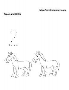 Free animals math worksheet with horses