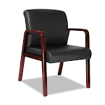 Alera RL4319C Reception Lounge Series Guest Chair Med. Cherry-Black Leather