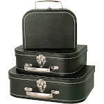 Wald Import Black Suitcases - Set of 3, Adult Unisex