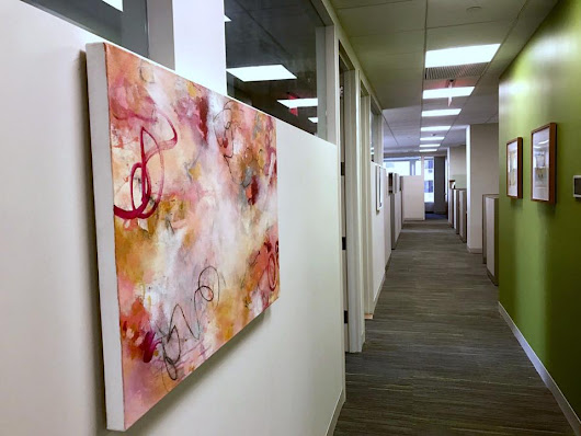 Abstract paintings by artist Paulette Insall installed in New York City at Memorial Sloan Kettering