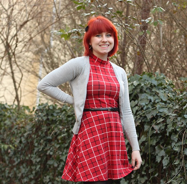 Outfit Red Plaid Mock Turtleneck Dress Gray Cardigan
