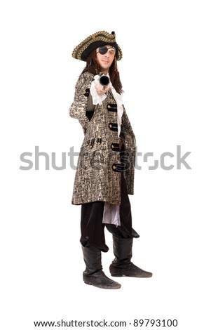 Pirate with a pistol in hand. Isolated - stock photo