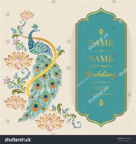 Wedding Invitation Card Templates Gold Peacock Stock
