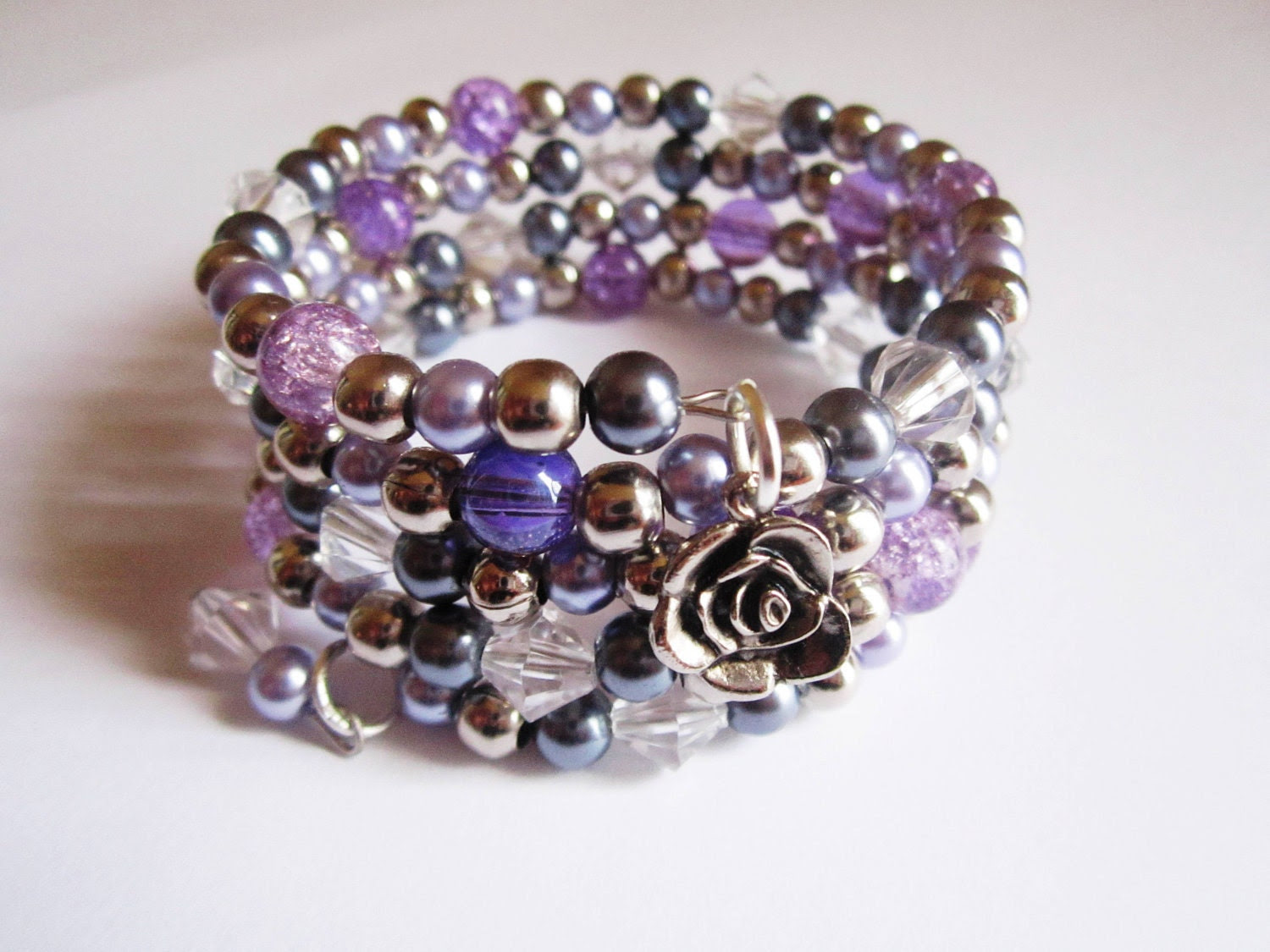 Lilac Pearl and Crystal Cuff Bracelet - SLDesignsHBJ