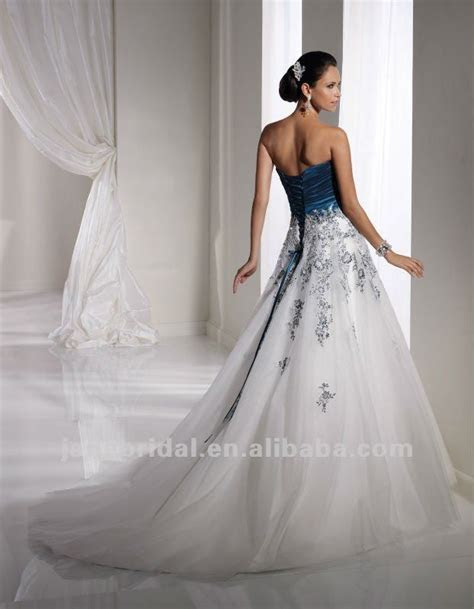 white and teal corset back wedding dresses   really like