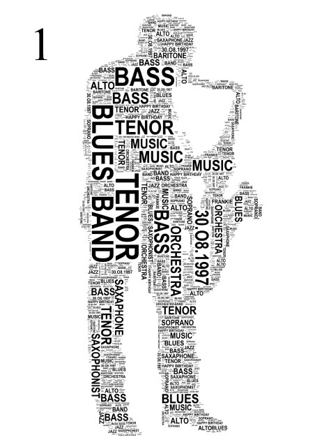 Saxophone Player. 2 variations. Personalised Word Art Print.  FREE UK P&P.