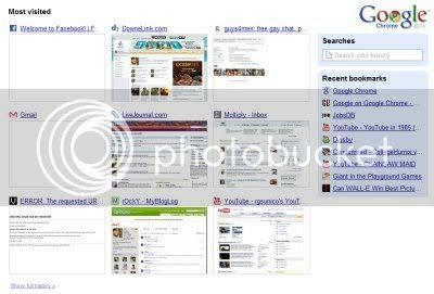Google Chrome New Tab Options