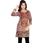 Red 3/4 Sleeve Indian Printed Kurti Tunic Women Kurta-X-Large