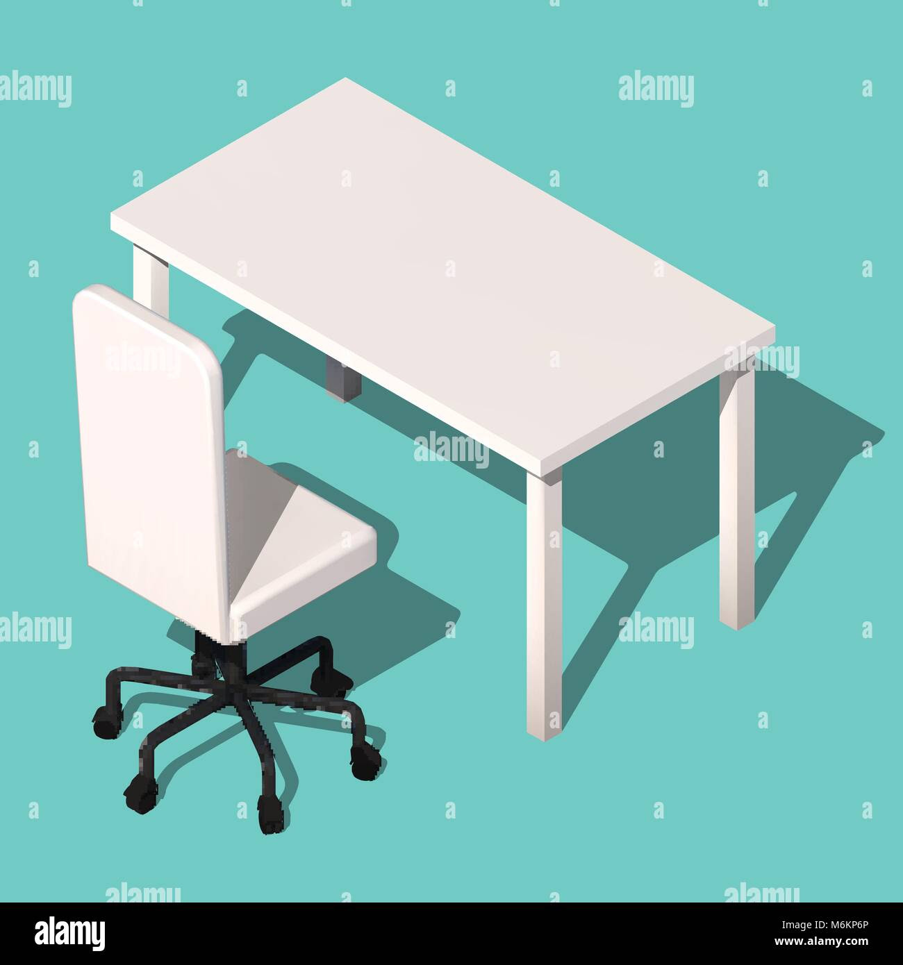 Isometric Office Table And Wheelchair Modern Workplace Design Stock