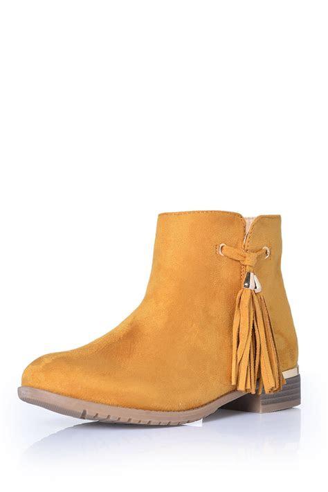 indigo footwear phoebe tassel ankle boots  yellow suede