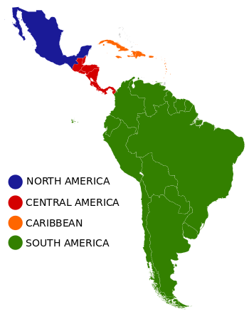 English: Common geographical regions of Latin ...