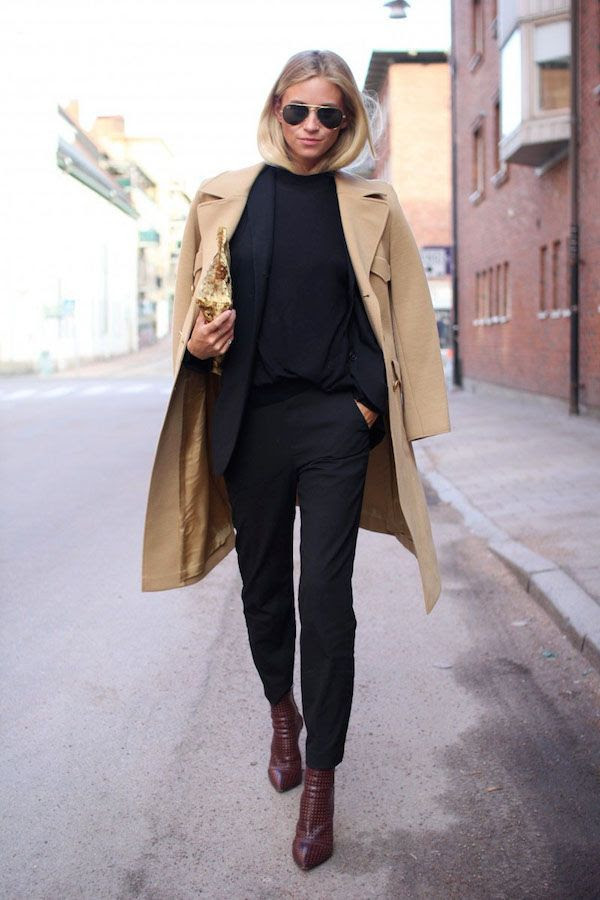 Le Fashion Blog Camel Coat Work Style All Black Look Pants Suit Burgundy Boots Fall Winter Via The Fashion Eaters