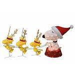"""60"""" Peanuts LED PreLit Snoopy & Woodstock in a Sled Reindeer Christmas Yard Art"""