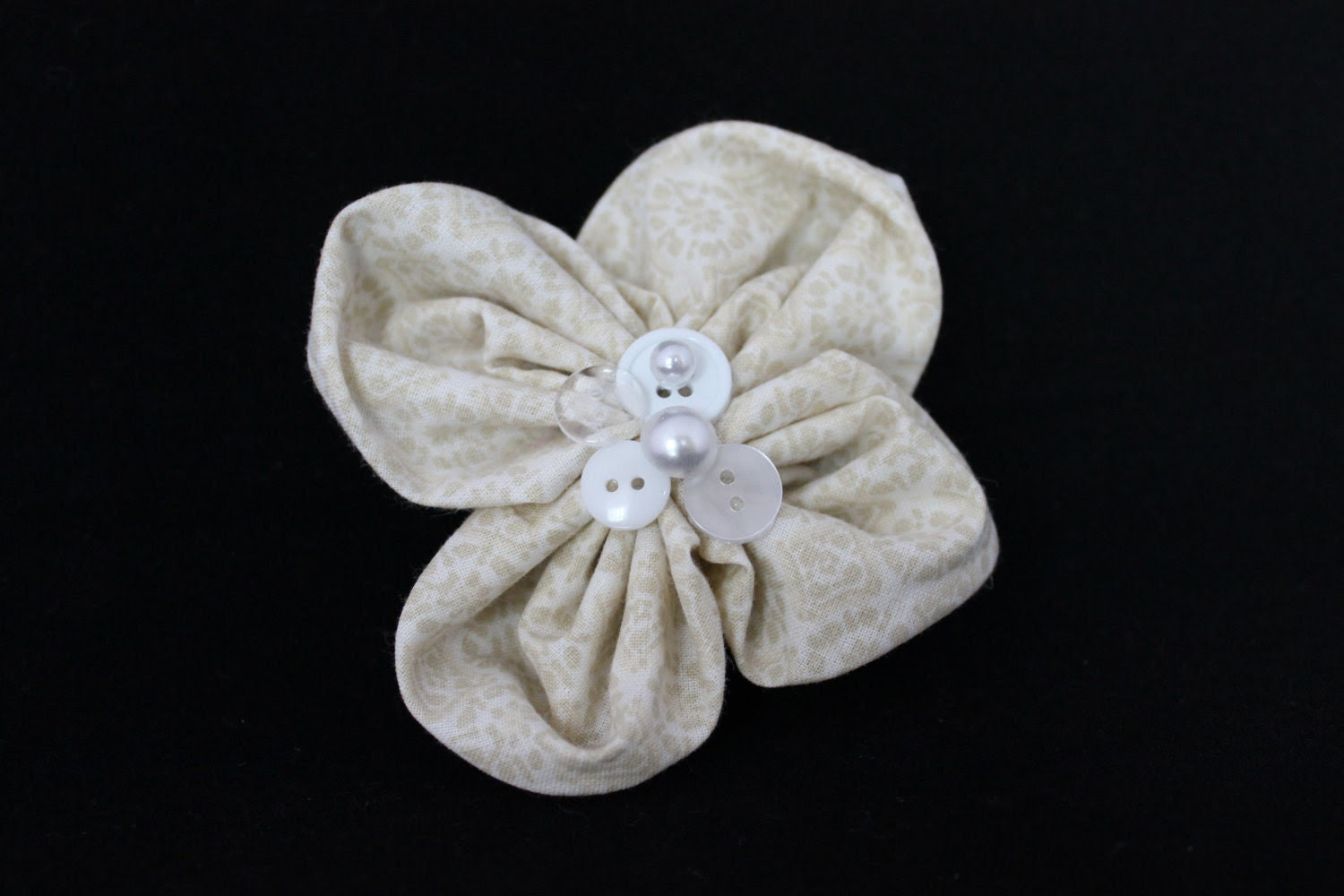 One Of A Kind Neutral Flower Barrette