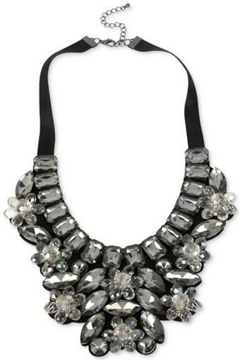 M. Haskell Hematite-Tone Faceted Stone Bib Necklace