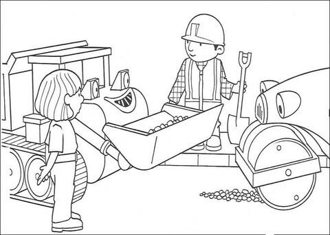 Dibujo De Roley Y Scoop Ayudan A Bob A Arreglar La Carretera Para