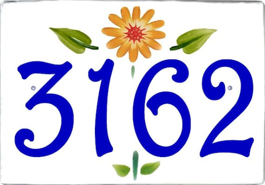 Simple and beautiful door address plaque, House numbers, Cobalt blue floral address sign, Yellow flower hand painted porcelain numbers