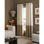 Curtainworks Kendall Color Block Grommet Curtain Panel, 108 inch, Ivory