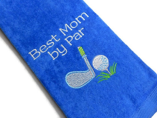 golf towel, Best Mom, by Par, gift for her, personalized golf, grandma, aunt gram, friend gift, custom name, embroidered towel, birthday