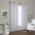 "Commonwealth Hammered Leaf 84"" Grommet Curtain Panel in White"