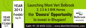 Year 2010 - Rs. 2300 per sq. ft. - Year 2013 - Rs. 4,400 per sq.ft. - Why? - Mont Vert Belbrook - 'Doosra' Opportunity - For Whom?