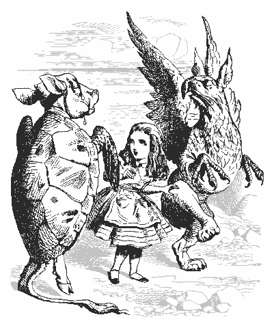 Mock Turtle and Gryphon demonstrating the Lobster Quadrille to Alice