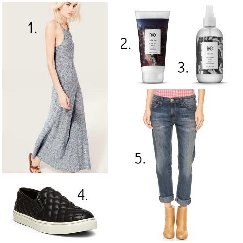 Lou and Grey Dress - R+Co. Blow Dry Balm - R+Co. Thickening Spray - Steve Madden Sneakers - Current/Elliott Jeans