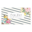 Watercolor Floral with Navy Stripes Womens Business Cards