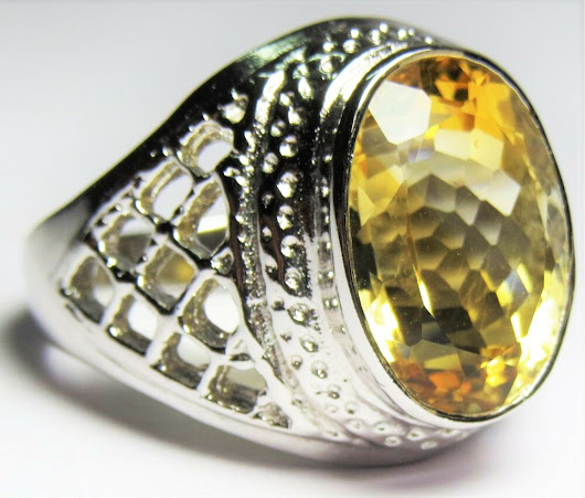 Details about  925 Sterling Silver Ring Main Stone Citrine Men Women Ring Style Engagement Gift