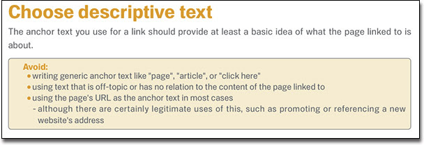 Choose Descriptive Anchor Text