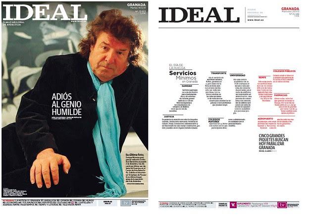 Las dos portadas premiadas en 2011 a Ideal de Granada por la SND