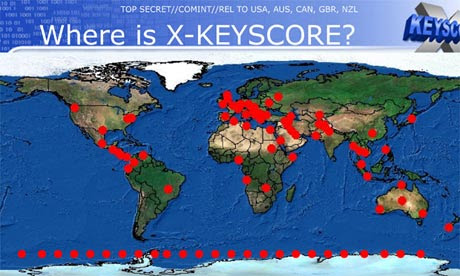 XKeyscore map - imagem retirada do site TheGuardian
