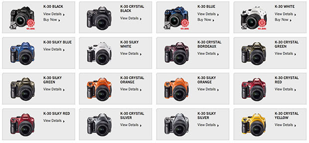 Pentax K30 DSLR adds 15 new finishes, gets both matte and gloss