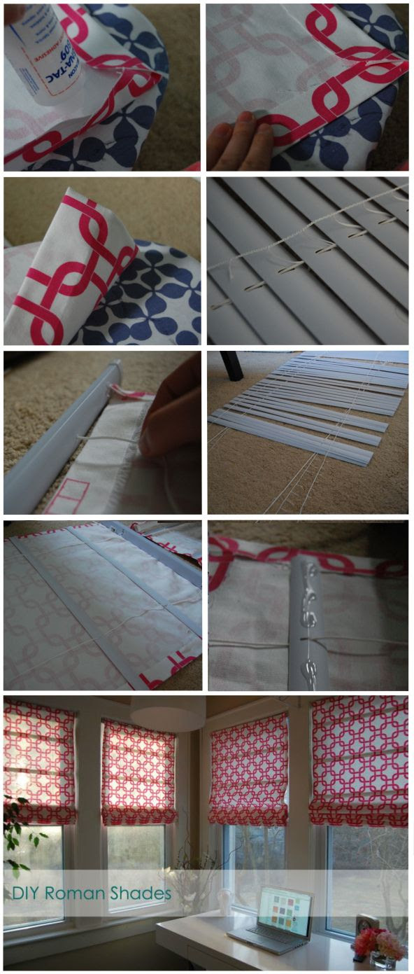 Such a clear & simple walk-through...no sewing required! DIY Roman Shades